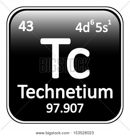 Periodic table element technetium icon on white background. Vector illustration.