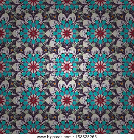 Seamless pattern with red flowers on navy blue background. Vector illustration.