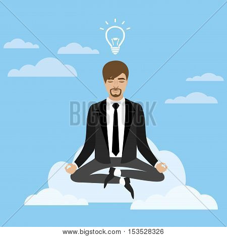 businessman in lotus position sitting on a cloudbusiness idea concept vector illustration