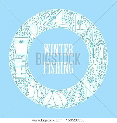 Icons of winter fishing arranged in a circle. Vector illustration.