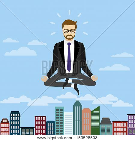 Businessman is meditating and relaxing in lotus poseVector illustration