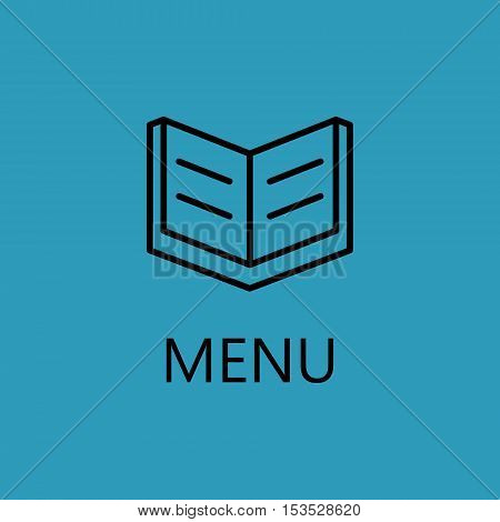 Open book line icon for web, mobile and infographics. Vector black icon isolated on blue background. High quality outline pictigram for design. Vector thin line illustration of open book.