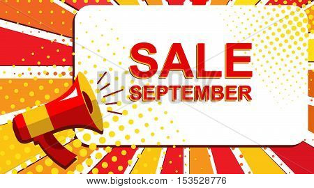 Megaphone With September Sale Announcement. Flat Style Pop Art Illustration