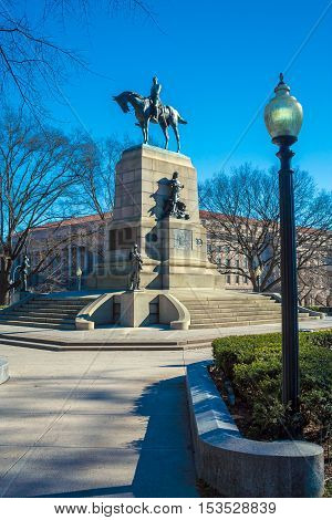 American Civil War General Sherman Monument, Washington Dc, Usa