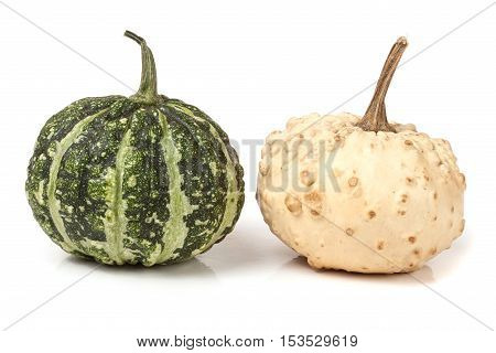 two decorative pumpkins isolated on white background.