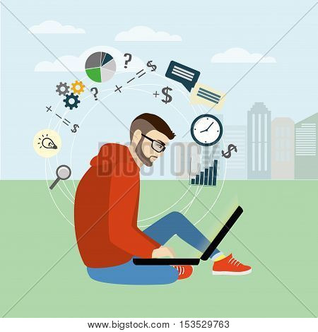 Fashionable guy sitting with laptop on the background of the city mobile applications vector illustration