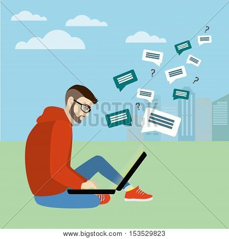Fashionable guy sitting with laptop on the background of the city Internet communication vector illustration