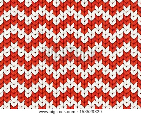 Red and white knit zig-zag Christmas knitted vector seamless pattern