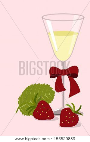 Wineglass of white wine with a red bow and two strawberries with leaf on a pink background, vector illustration