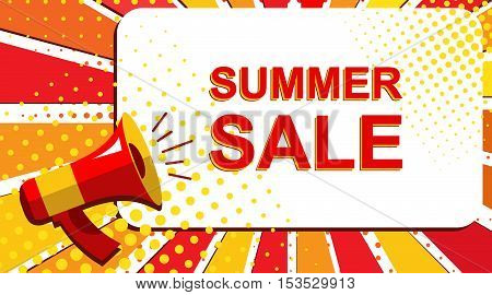 Megaphone With Summer Sale Announcement. Flat Style Pop Art Illustration