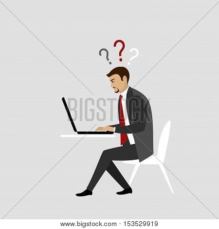 Man Working On laptop Computer. Businessman or office worker. Vector illustration