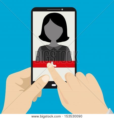 Hand holding smartphone with female silhouette icon on the screenvector illustration