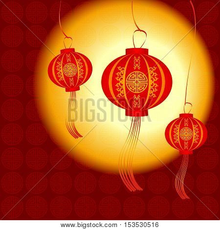 Chinese traditional red Lanterns. Space for text Happy New Year
