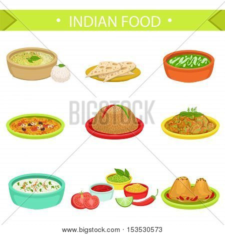 Indian Food Signature Dishes Illustration Set. Traditional Cuisine Restaurant Menu Plates In Simplified Vector Drawings,