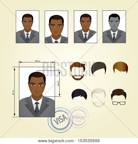 Set template face business, suits ,clothing, hairstyles. Vector illustration