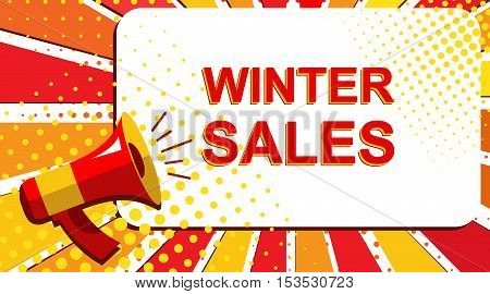 Megaphone With Winter Sales Announcement. Flat Style Pop Art Illustration