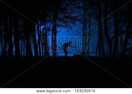 Murder in the park. Maniac kills his victim in the night deserted park. Silhouettes in night foggy forest