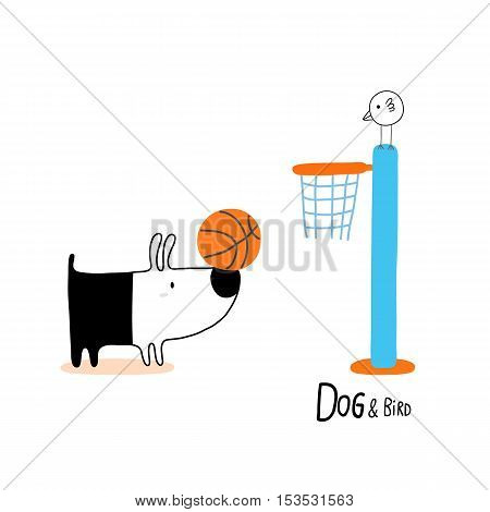Dog & Bird playing basketball character design for decoration