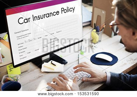 Car Insurance Policy Form Concept