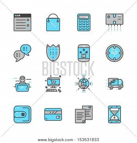 Mono color set of online pay related vector icons eps 10