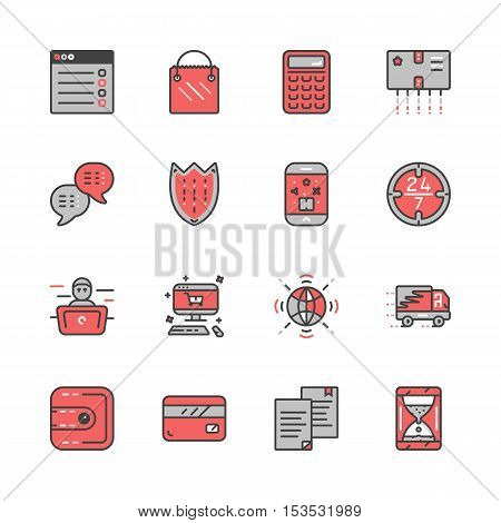 Mono color set of online pay related vector icons 10