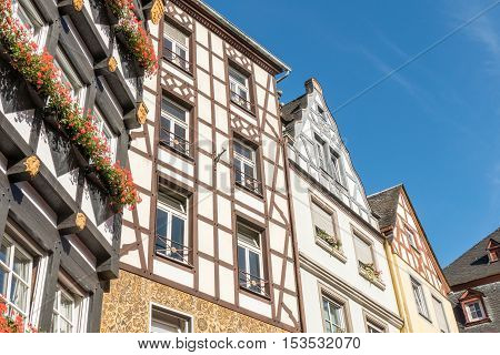 Half-timbered houses in city Cochem in Germany.