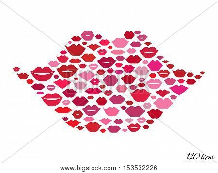 Lips shape made with kisses. Abstract smile