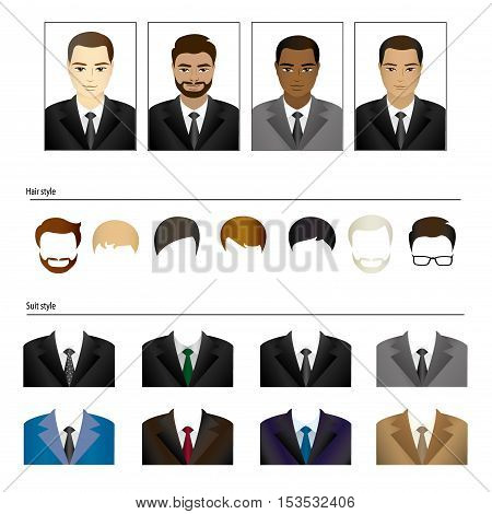Set templates business suits and hairstyles cartoon vector illustration