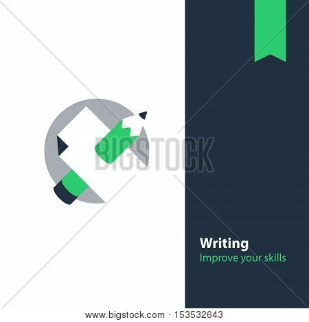 Writing education concept. Flat design vector illustration