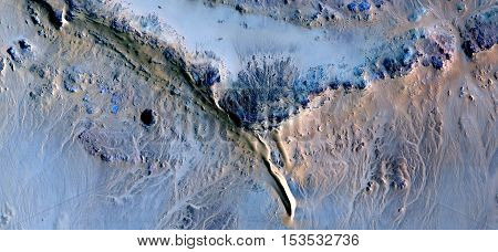 Allegory the bird of paradise, Abstract photography of landscapes of deserts of Africa from the air