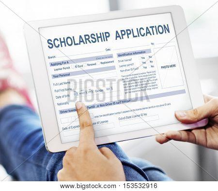 Scholarship Application Form Foundation Concept