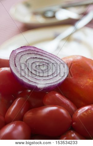 tropea red onion with fresh cherry tomatoes