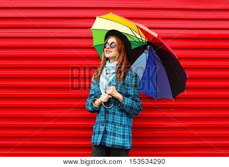 Fashion Pretty Young Smiling Woman Holds Colorful Umbrella Wearing Black Hat Checkered Coat Jacket O