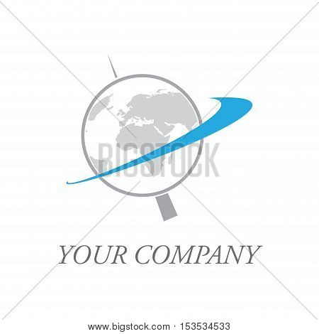 Vector sign rotating globe, abstract  isolated logo
