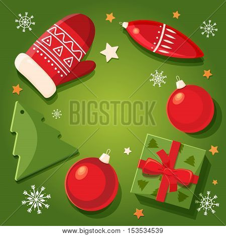 Merry christmas design elements. Christmas card with decoration elements: gift, tree, ball and mitten. Bright cartoon background with holiday symbols. Vector illustration.