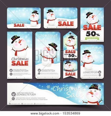 Collection of christmas sale with snowman web tag banner promotion sale discount style vector illustration eps10