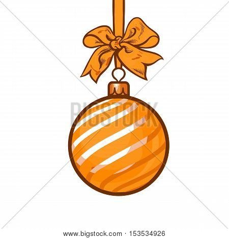 Christmas ball with orange ribbon and bow, vector greeting card template with white background.