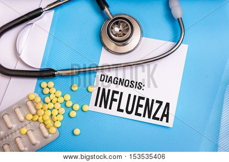 Influenza Word Written On Medical Blue Folder With Patient Files