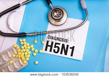 H5N1 Word Written On Medical Blue Folder With Patient Files