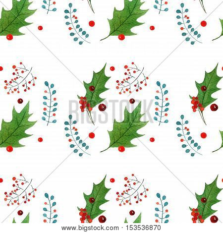 watercolor seamless pattern with traditional hand drawn Christmas elements. for season design.