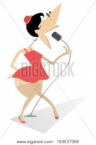 Show girl. Sexy woman sings a song with great feeling