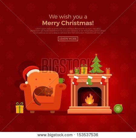 Christmas fireplace room interior in colorful cartoon flat style. Christmas tree, gifts, decoration, armchair, fireplace, santa heat. Cozy noel xmas night celebration interior vector illustration.