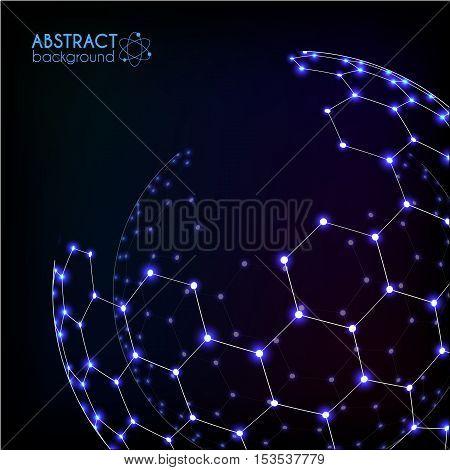 Blue shining cosmic hexagonal grid vector shining sphere on dark background