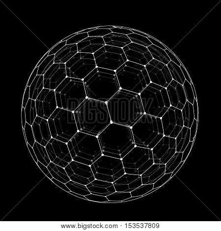 Vector hexagonal grid buckyball or fullerene sphere isolated on black background