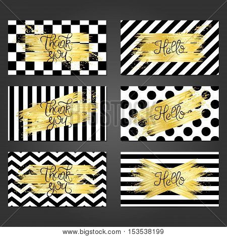 Collection of 6 vintage card templates in black and white colors and with golden brushstrokes. For the wedding marriage save the date cards invitations greetings. Grunge retro design with golden paint.
