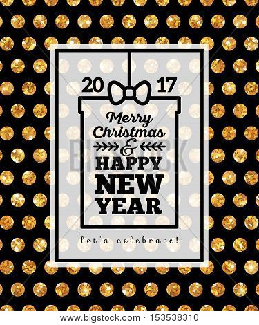 Black Winter Holidays Poster with Gold Polka Dots Pattern and Frame. Gift with Merry Christmas and Happy New Year Greetings. Vector Illustration. Typography Template for Text