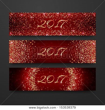 Happy New Year 2017 invitation design collection. Headline holiday template with sparkles on red background. Gold glitter banner set.
