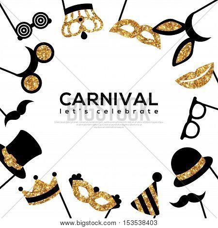 Frame with Golden Carnival Masks on White Background. Glittering Celebration Festive Banner Template. Vector Illustration.