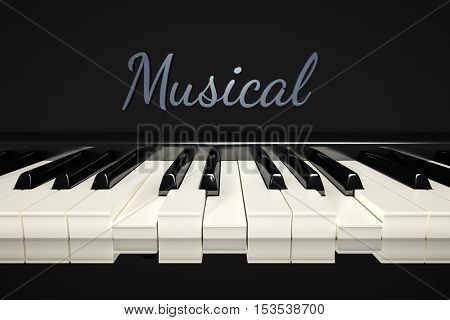 3d rendering of a classic piano keys background