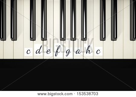 3d rendering of a classic piano keys with note signs to learn